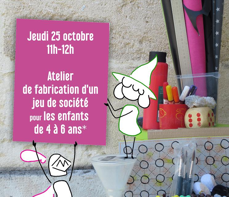 Ludothèque Bastide : jeudi 25 octobre : atelier de fabrication 4-6ans…plus que quelques places !!!