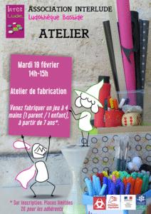 Annulé : atelier de fabrication,à 4 mains, à partir de 7 ans @ Ludothèque Bastide