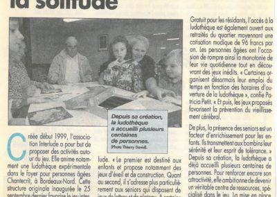 Jouer pour prévenir la solitude Sud ouest octobre 1999